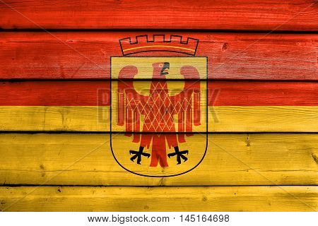 Flag Of Potsdam, Germany, Painted On Old Wood Plank Background