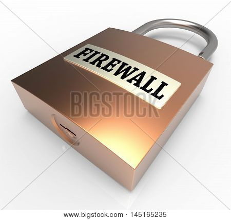 Firewall Padlock Means Safe Protected 3D Rendering