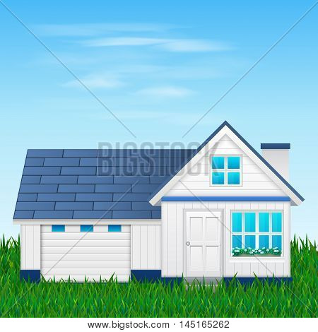 Suburban family house with garage. vector illustration