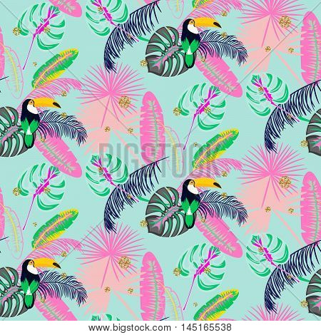 Monstera tropic plant leaves and toucan bird blue seamless pattern. Exotic nature pattern for fabric, wallpaper or apparel.