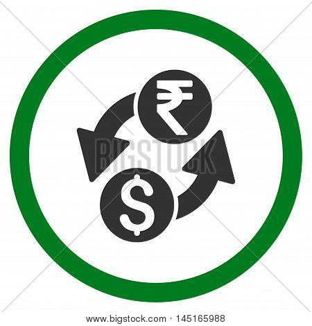 Dollar Rupee Exchange vector bicolor rounded icon. Image style is a flat icon symbol inside a circle, green and gray colors, white background.