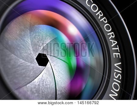 Professional Photo Lens with Bright Colored Flares. Corporate Vision Concept. Corporate Vision - Concept on Camera Photo Lens with Colored Lens Reflection, Closeup. 3D Illustration.