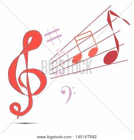 Vector illustration logo for musical signs.Isolated in the drawing,consists of a treble clef,note,sharp,flat,music for musicians,white background.The icon for philharmonic,ensemble,concert,performance