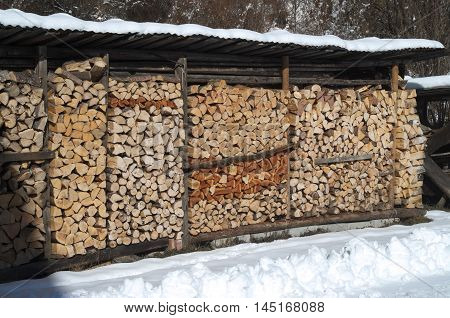 Pile of chopped wood for the fireplace, background