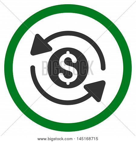 Money Turnover vector bicolor rounded icon. Image style is a flat icon symbol inside a circle, green and gray colors, white background.