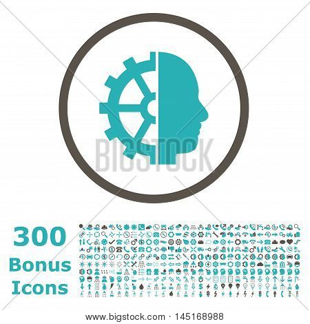 Cyborg Gear rounded icon with 300 bonus icons. Vector illustration style is flat iconic bicolor symbols, grey and cyan colors, white background.