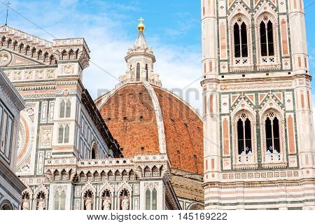 Famous Santa Maria del Fiore cathedral church in Florence. Close-up view from below