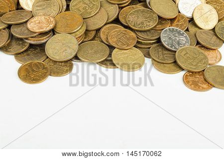 Heap of the coins. Stock image macro.