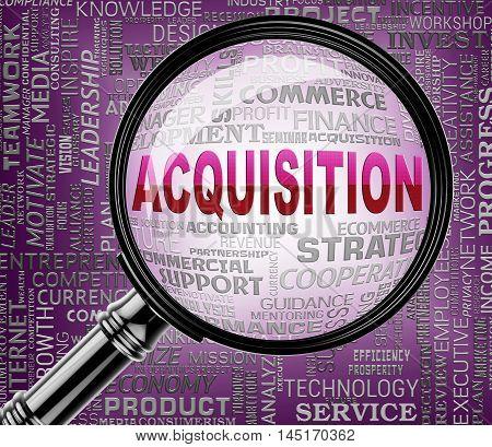 Acquisition Magnifier Represents Procuring Procurement 3D Rendering