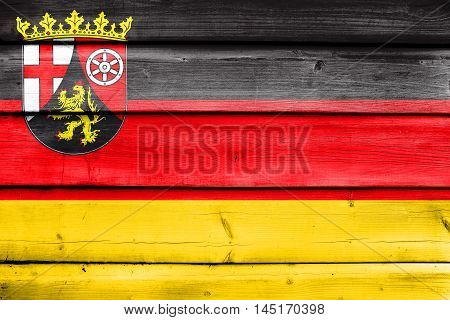 Flag Of Rhineland-palatinate, Germany, Painted On Old Wood Plank Background