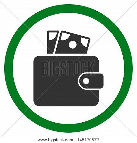 Wallet vector bicolor rounded icon. Image style is a flat icon symbol inside a circle, green and gray colors, white background.