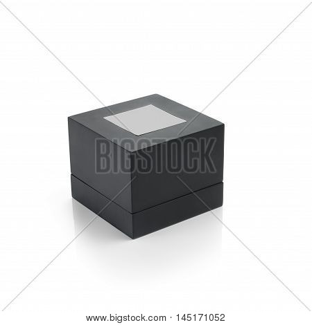 Black box with square stick on top. Clipping path