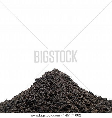 Pile of ground agains white background. Space for growth sign