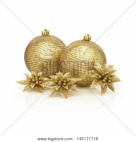Golden spangles Christmas Still life. Two golden balls and sparkling flowers against white background and soft reflection. Clipping path