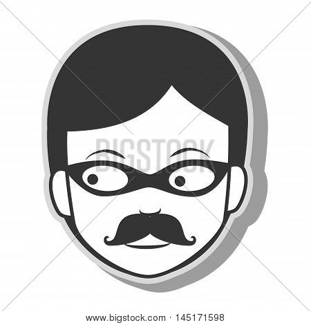 face man criminal thief stealing isolated vector illustration eps 10