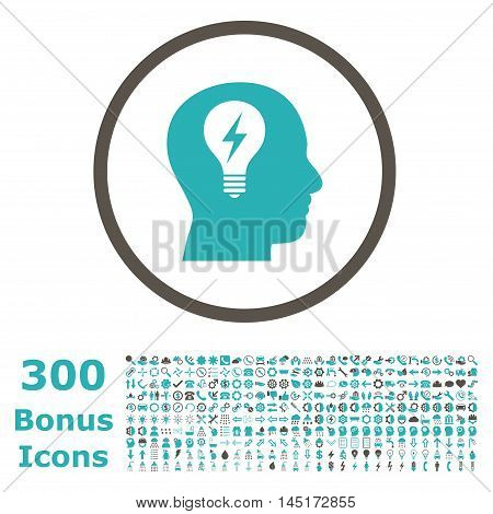 Head Bulb rounded icon with 300 bonus icons. Vector illustration style is flat iconic bicolor symbols, grey and cyan colors, white background.