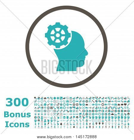 Head Gear rounded icon with 300 bonus icons. Vector illustration style is flat iconic bicolor symbols, grey and cyan colors, white background.