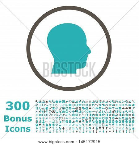 Head Profile rounded icon with 300 bonus icons. Vector illustration style is flat iconic bicolor symbols, grey and cyan colors, white background.