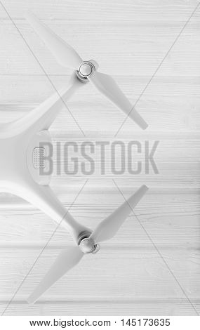 concept drone on a white wooden background
