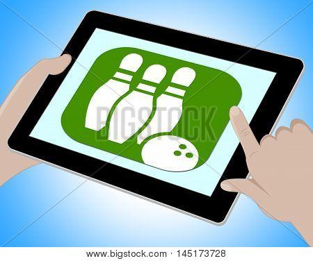 Bowling Online Indicates Ten Pin 3D Illustration