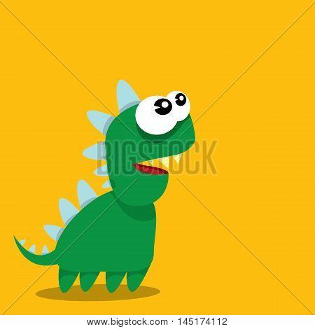 Vector cartoon green funny dragon. Cartoon cute monster Dinosaur.