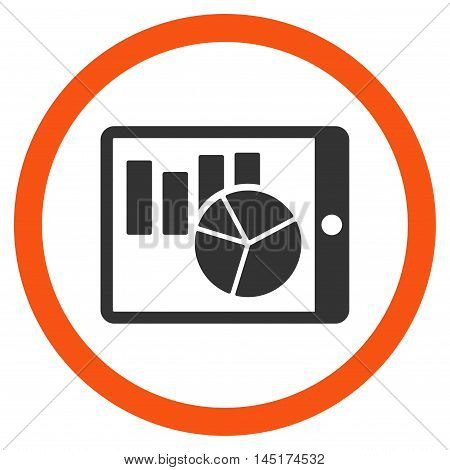 Charts on Pda vector bicolor rounded icon. Image style is a flat icon symbol inside a circle, orange and gray colors, white background.