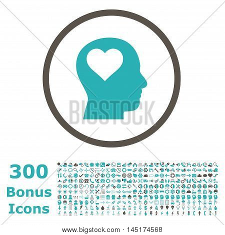Lover Head rounded icon with 300 bonus icons. Vector illustration style is flat iconic bicolor symbols, grey and cyan colors, white background.