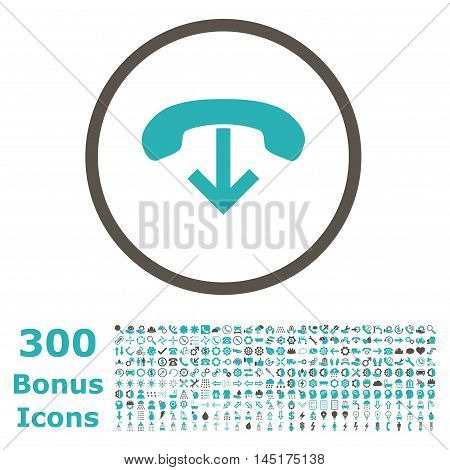 Phone Hang Up rounded icon with 300 bonus icons. Vector illustration style is flat iconic bicolor symbols, grey and cyan colors, white background.