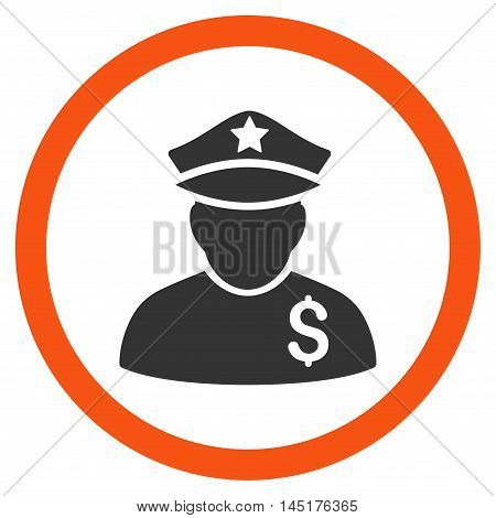 Financial Policeman vector bicolor rounded icon. Image style is a flat icon symbol inside a circle, orange and gray colors, white background.
