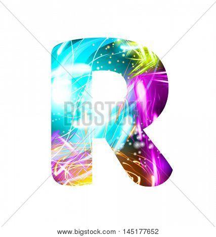 Glowing Light effect neon Font. Firework Color Design Text Symbols. Shiny letter R
