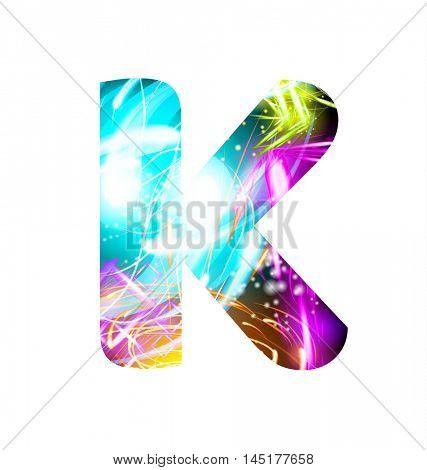Glowing Light effect neon Font. Firework Color Design Text Symbols. Shiny letter K