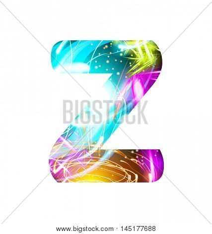 Glowing Light effect neon Font. Firework Color Design Text Symbols. Shiny letter Z