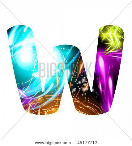 Glowing Light effect neon Font. Firework Color Design Text Symbols. Shiny letter W