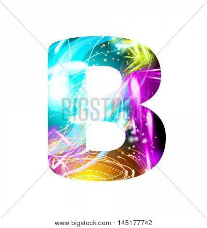 Glowing Light effect neon Font. Firework Color Design Text Symbols. Shiny letter B