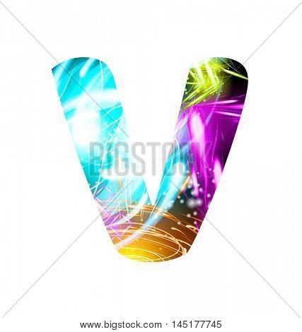 Glowing Light effect neon Font. Firework Color Design Text Symbols. Shiny letter V