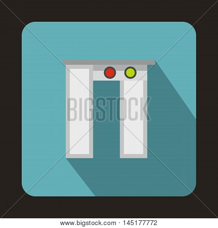 Passengers passes x-ray check at airport icon in flat style isolated with long shadow