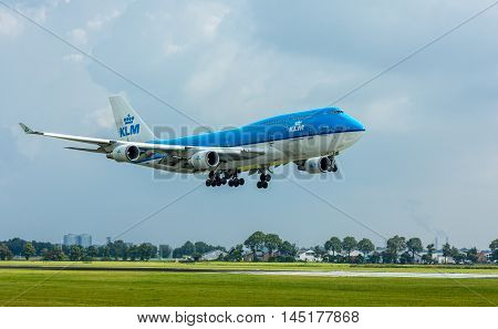 Polderbaan Schiphol Airport the Netherlands - August 20 2016: KLM Air France Boeing 747 landing at Amsterdam Schiphol Airport
