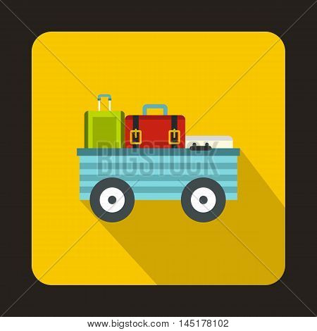 Luggage cart with suitcases and bags icon in flat style isolated with long shadow