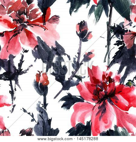 Watercolor and ink illustration of blossom flower. Gohua sumi-e u-sin painting. Seamless pattern.