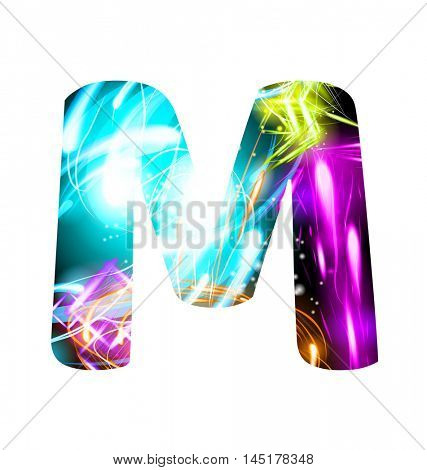 Glowing Light effect neon Font. Firework Color Design Text Symbols. Shiny letter M