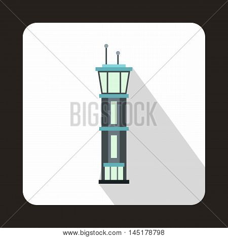Airport control tower icon in flat style isolated with long shadow