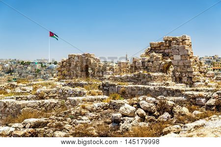 Ruins of the Amman Citadel in Jordan