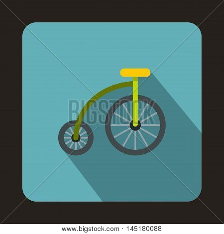 Bicycle for children icon in flat style isolated with long shadow