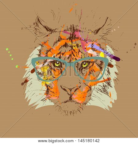 vector tiger hipster glasses drawing illustration  clothes, predator, trendy,