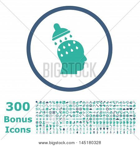 Brain Washing rounded icon with 300 bonus icons. Vector illustration style is flat iconic bicolor symbols, cobalt and cyan colors, white background.