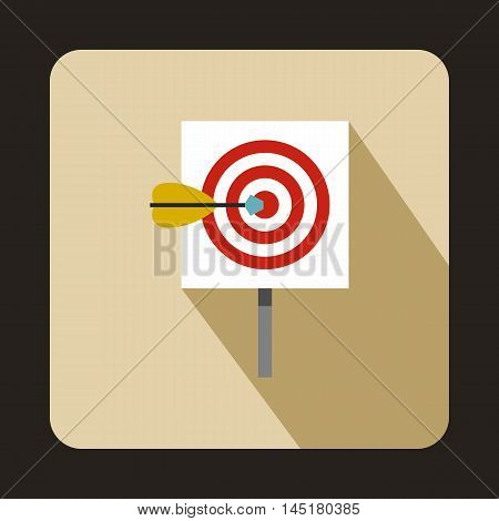 Target with darts icon in flat style isolated with long shadow