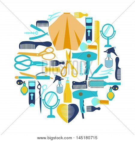 Flat vector illustration Hairdressing and barber shop related symbol. Collection silhouette of Haircutting tool and barbershop objects for Beauty salon haircut fashion barbershop .