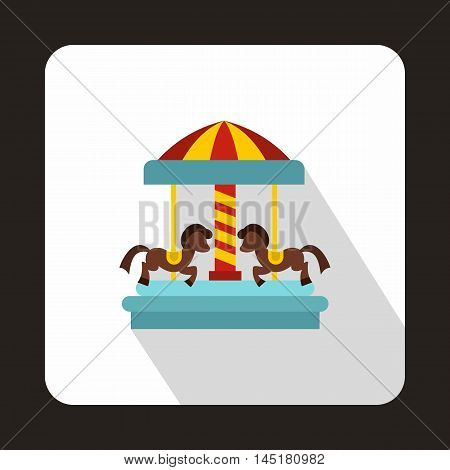 Carousel with horses icon in flat style isolated with long shadow