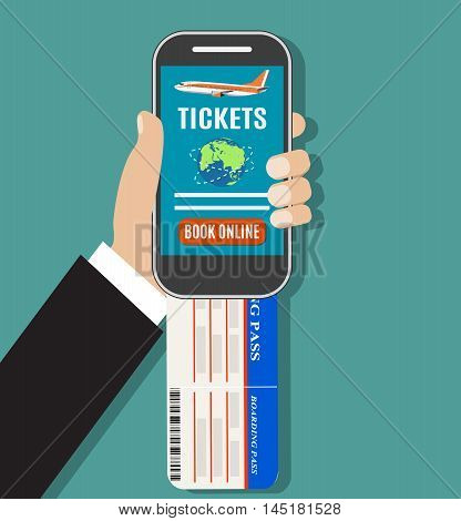 Booking online flights travel or ticket. Human hand with mobile phone. Concept of online booking for airplane tickets. Vector illustration in flat design