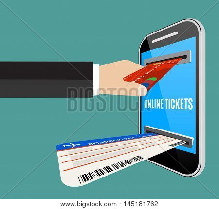 Online tickets ordering concept. Mans hand put credit card to the smartphone screen, and gets tickets. Vector illustration in flat design